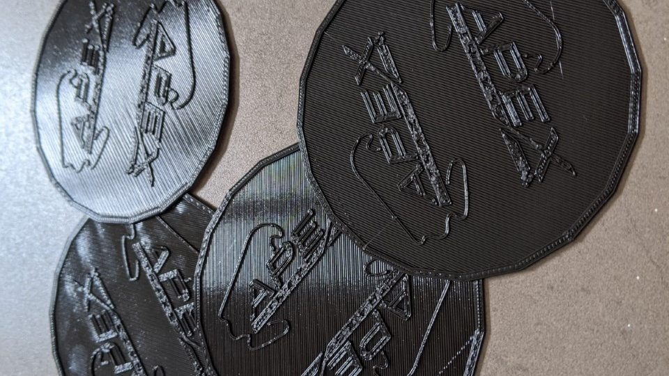 Six coasters (0.5mm thick up to 75x75mm) of the track of your choice