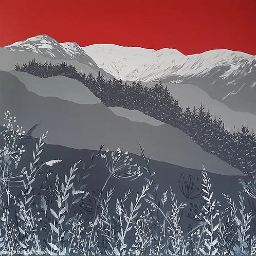 Snow on the fells, Ambleside greeting card