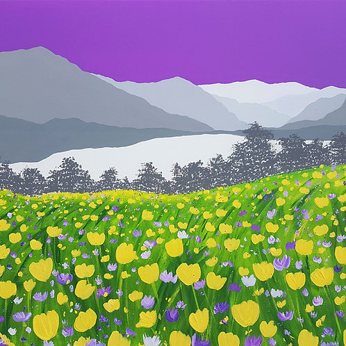 Buttercups above Loweswater greeting card