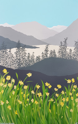 SOLD Daffodils over Ullswater