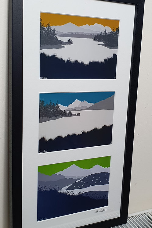 Framed 3 peaks print set
