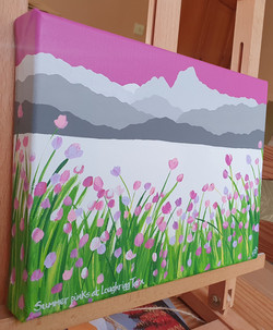 Summer pinks at Loughrigg Tarn