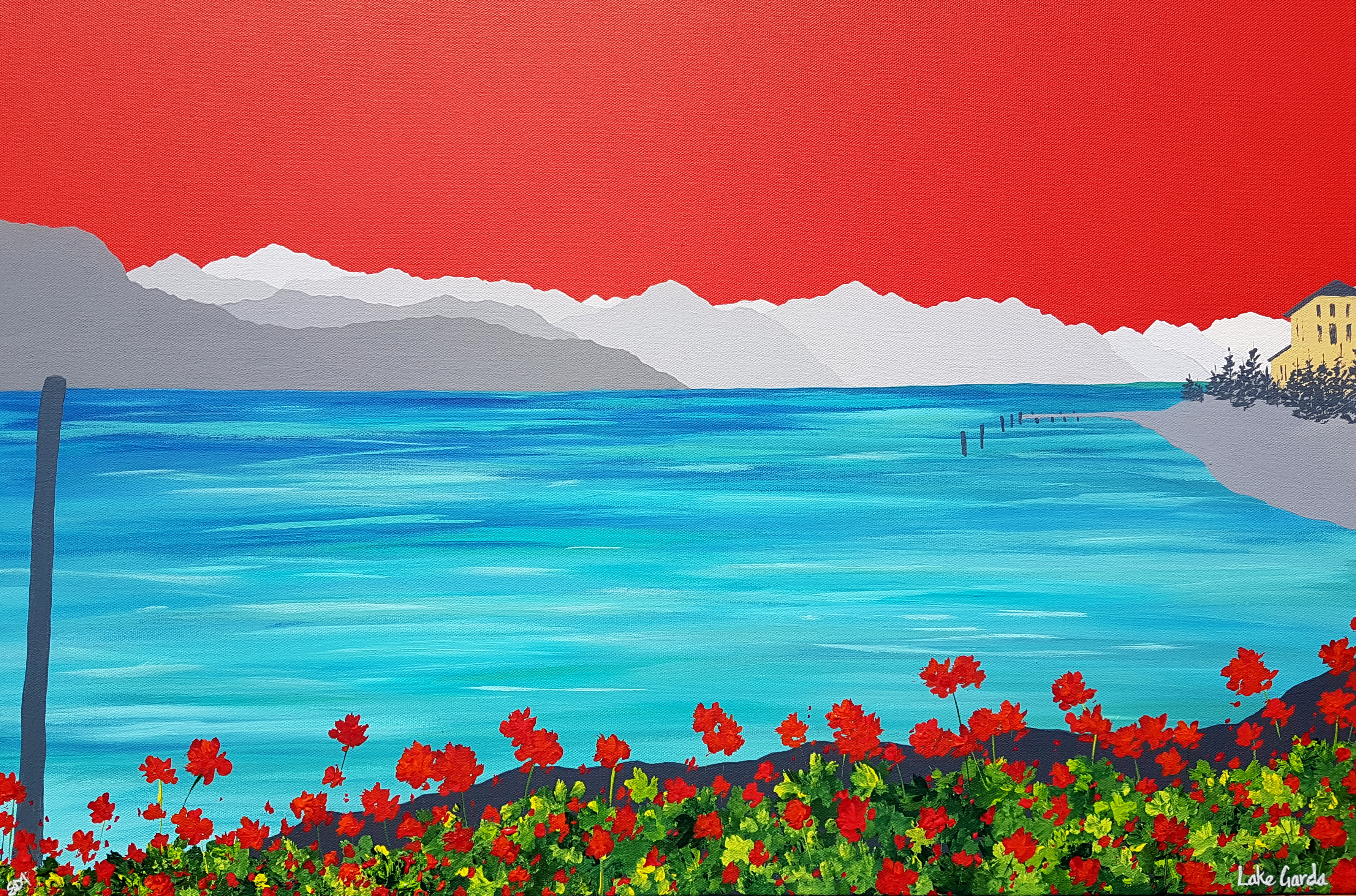SOLD Geraniums at Lake Garda