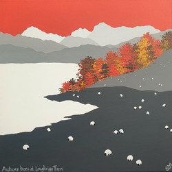 SOLD Autumn trees at Loughrigg Tarn