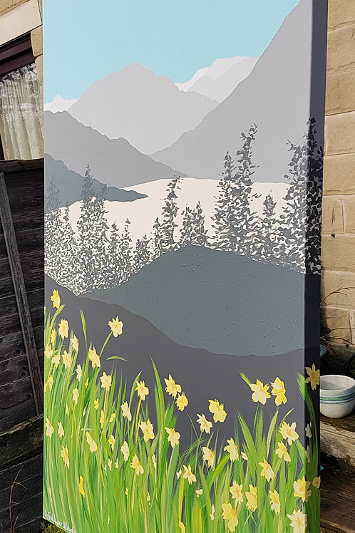 Daffodils over Ullswater (Large painting)