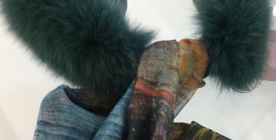 Collo in volpe verde con sciarpetta