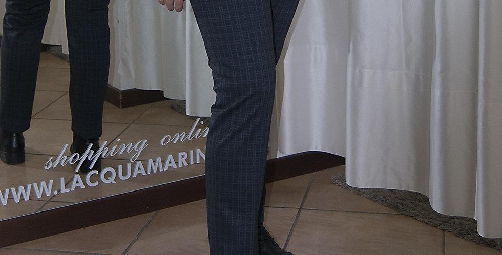 Pantalone scossese blu elasticizzato