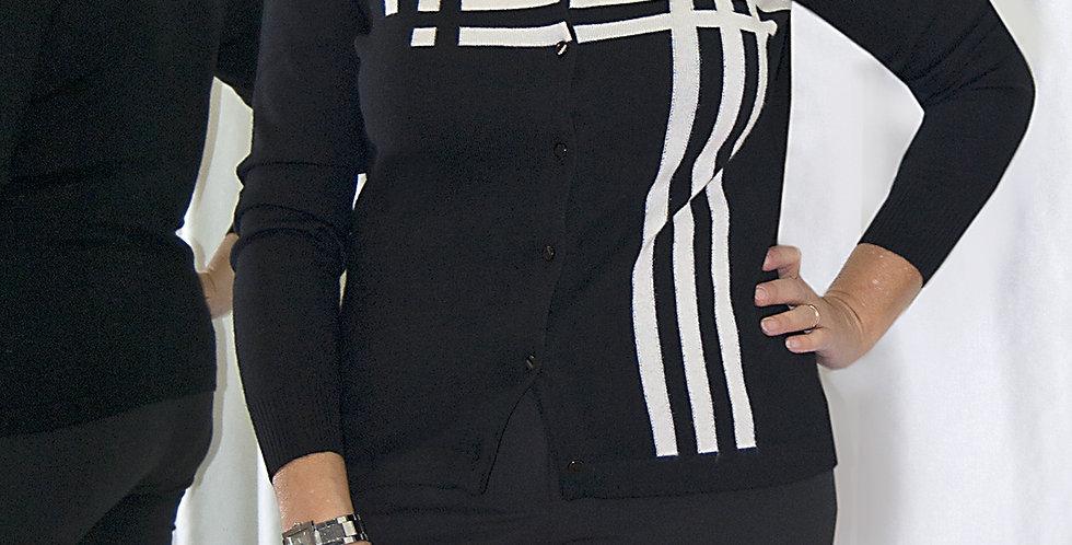 Coreana bianco e nero a intarsio. 90% merino - 10% cachemire