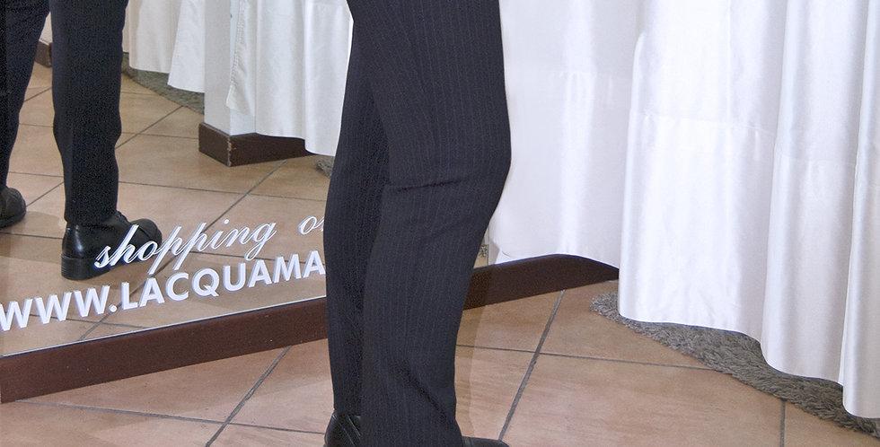 Pantalone gessato elasticizzato, senza cerniera