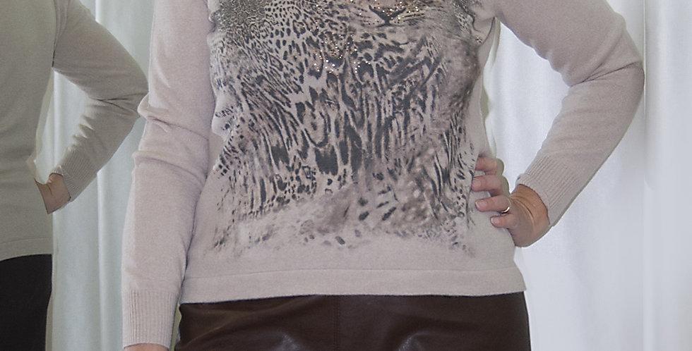 Maglia stampa maculato Musetti, 90% merino e 10% cachemire