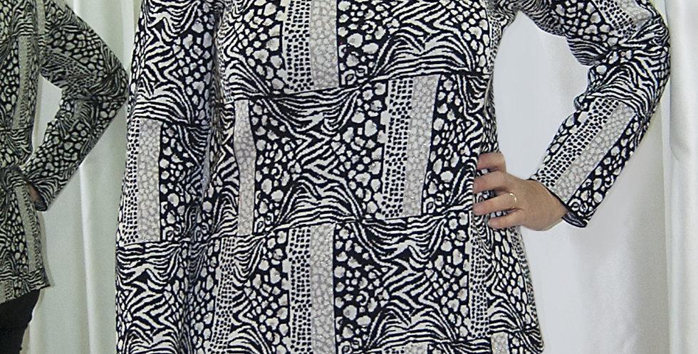 Casacca in lana, stampa animalier bianco,nero e lamè