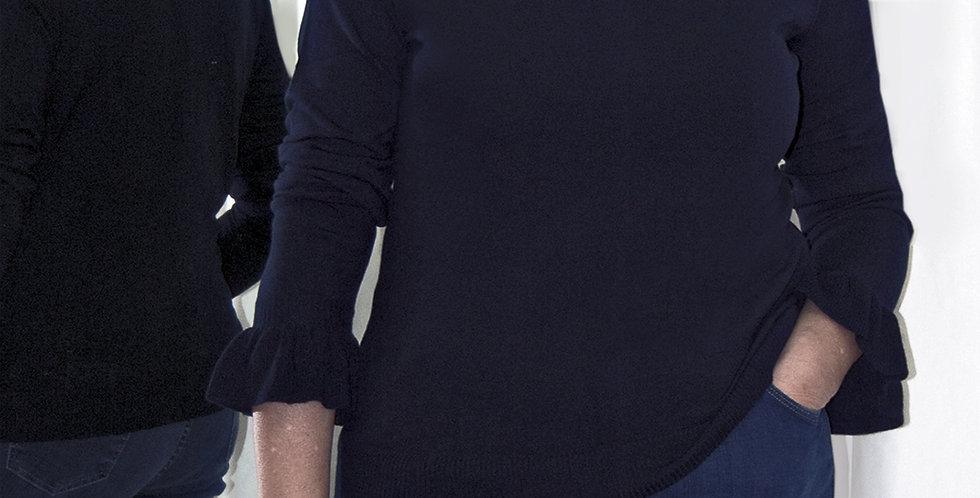 Maglia Volpato, in viscosa invernale blu, manica con rouges