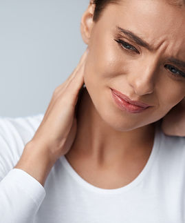 Tired Neck. Beautiful Young Woman Suffering From Neck Pain. Attractive Female Feeling Tire