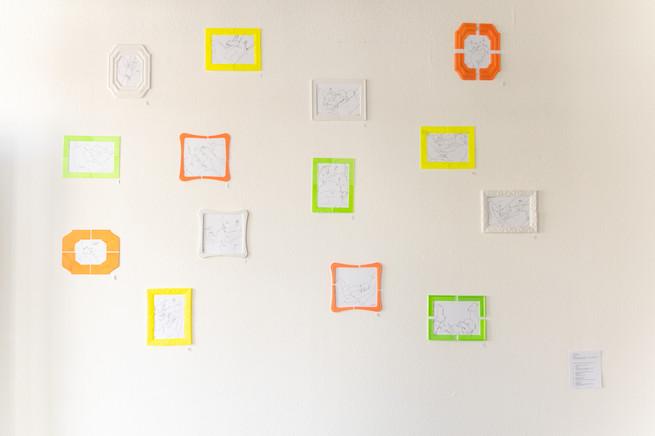 Mom Art 2017-2019, 3D-gedruckte Rahmen, gedruckte Skizzen, größe Variabel
