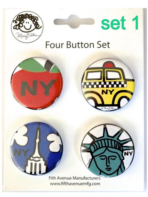 NY mini button set