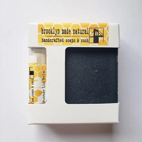 Gift Box Soap & Lip Balm - Charcoal & Bee Butter - Brooklyn NY