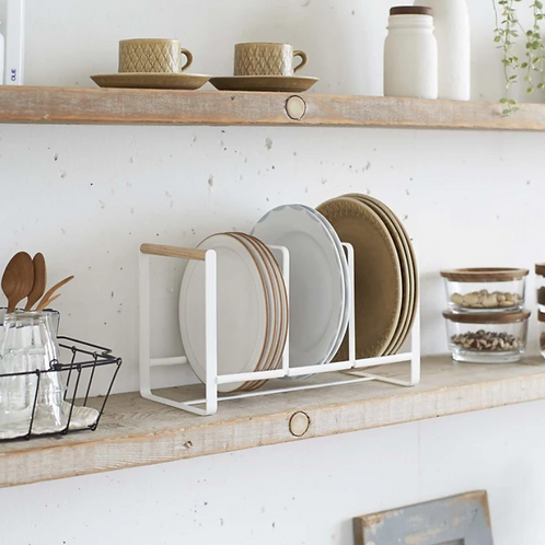 Wood-accented dish storage rack