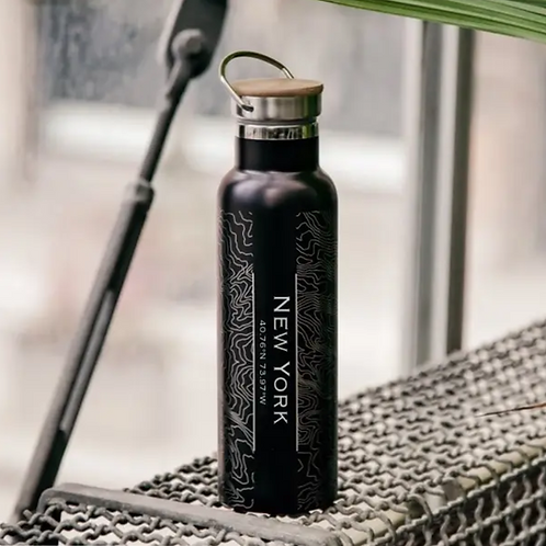New York City Map Bottle with Bamboo Top in Matte Black