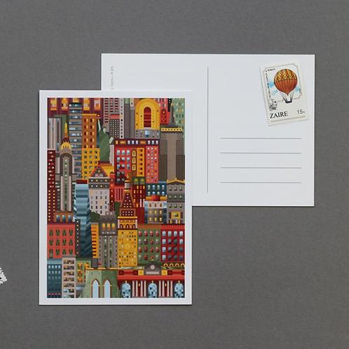 NY colorful postcard 5 piece set
