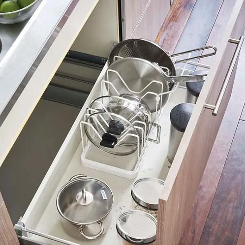 Yamazaki Home-White Tower Pot Lid and Frying Pan Organizer