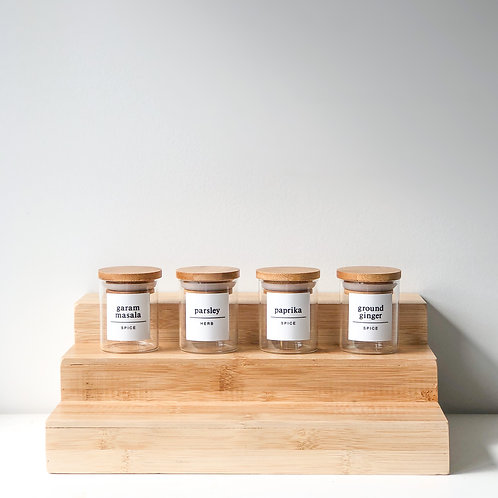 spice jars with square label