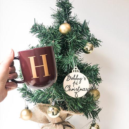 christmas initial mug