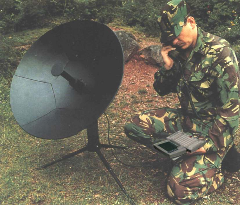 satellite dish with handheld compute
