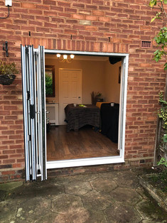 white bifold door
