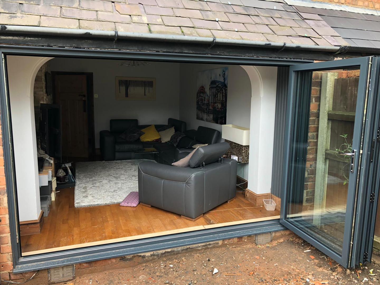 grey bifold doors