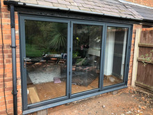 grey bifold door installation