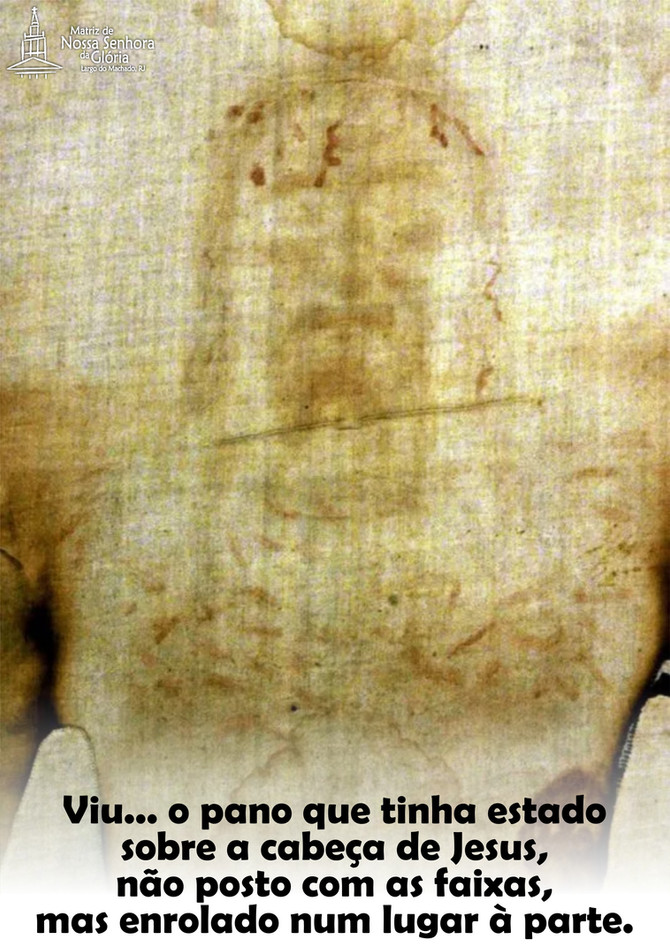 Viu... o pano que tinha estado sobre a cabeça de Jesus, não posto com as faixas, mas enrolado num l