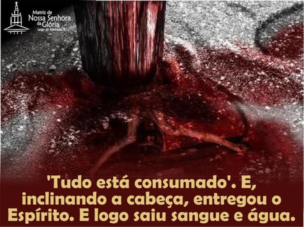'Tudo está consumado'. E, inclinando a cabeça, entregou o Espírito. E logo saiu sangue e águ