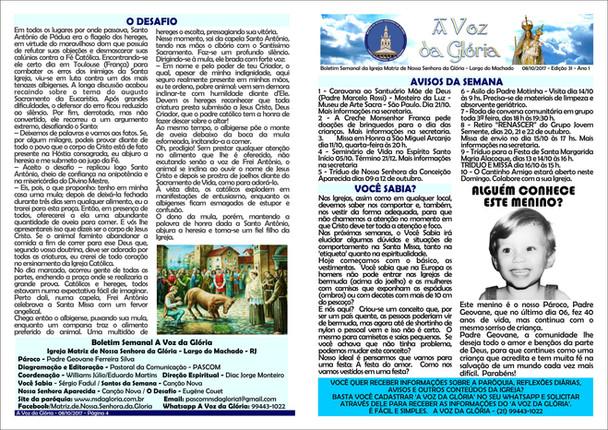 A Voz da Glória edição 031 - Outubro 2017 - 2ª semana