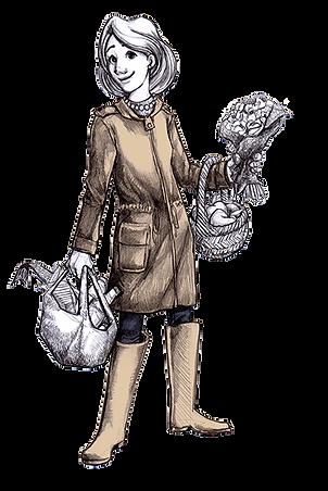 Zeichnung Frau mit Einkäufen