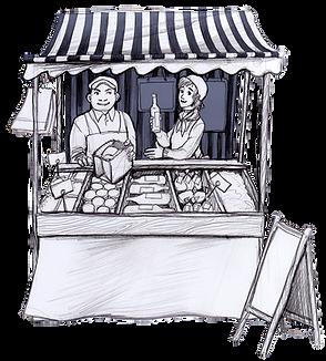 Zeichnung Marktstand auf dem Wochenmarkt