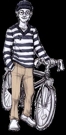 Zeichnung Hamburger Jung mit Fahrrad