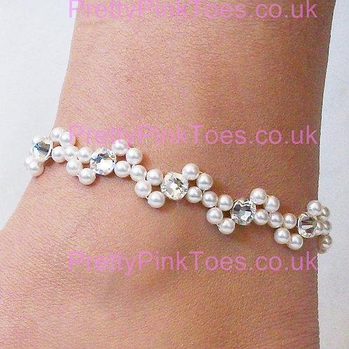 Swarovski Crystal & Pearl Waves Anklet