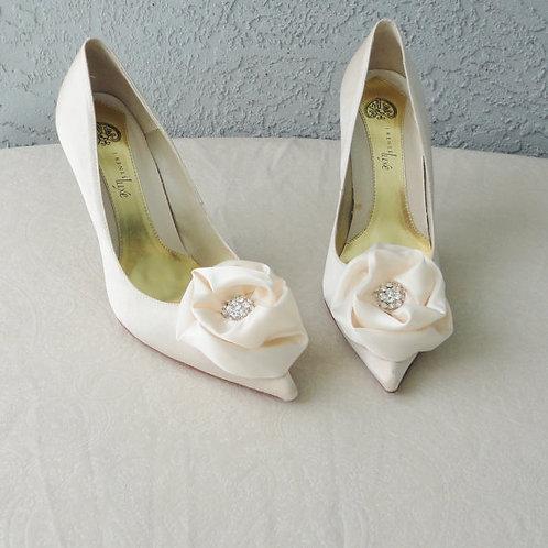 Ivory Satin & Rhinestone Shoe Clips