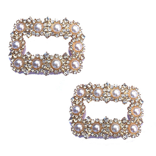 Crystal & Pearl Buckle Shoe Clips