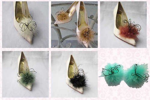 Feathered Shoe Clips - various colours