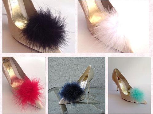 Pom Pom Feather Shoe Clips - various colours