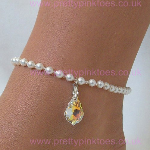 Pearl with Baroque Crystal Drop Anklet