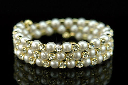 Pearl & Crystal Armlets in Silver or Gold