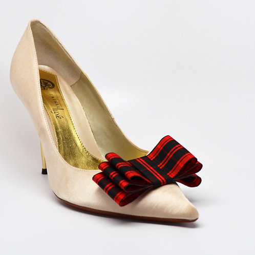 Tartan Bow Shoe Clips - various colours