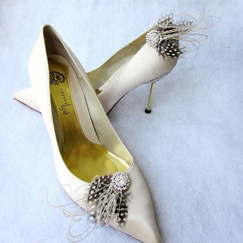 Polka Dot Feathers & Rhinestones Shoe Clips