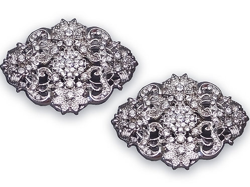 Caroline Silver or Gunmetal Shoe Clips