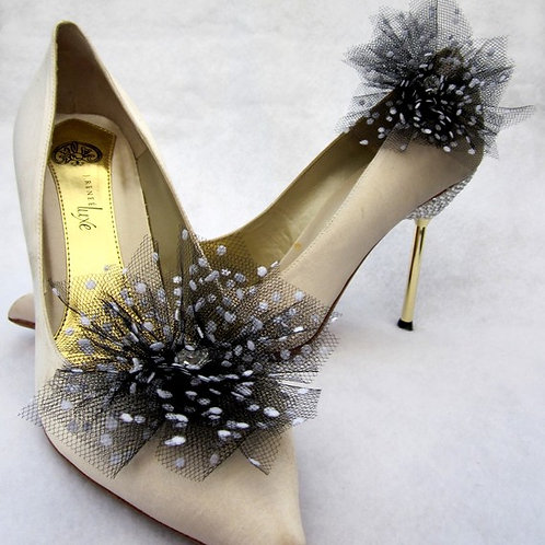 Flower Tulle with spots Shoe Clips- Various Colours