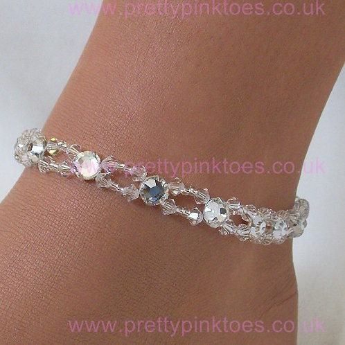 Silver Sleek Crystal Anklet