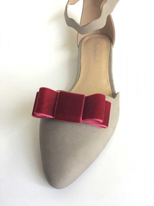 Velvet Bow Shoe Clips