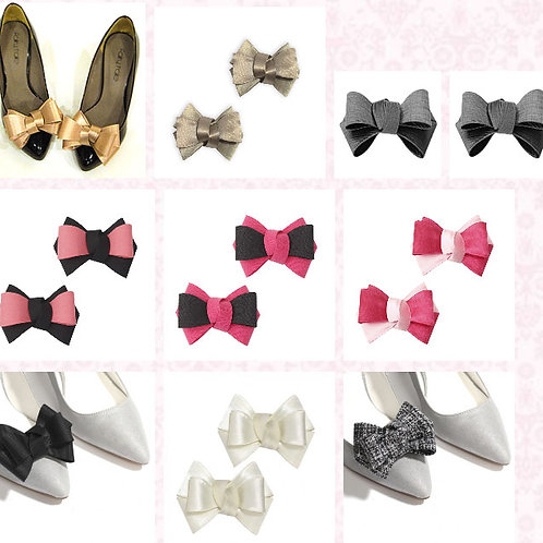 Carrie Double Bow Shoe Clips - various colours